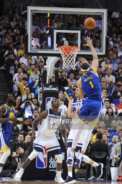 JaVale McGee of the Golden State Warriors shoots the ball during the game against the Minnesota Timberwolves as part of 2017 NBA Global Games China...