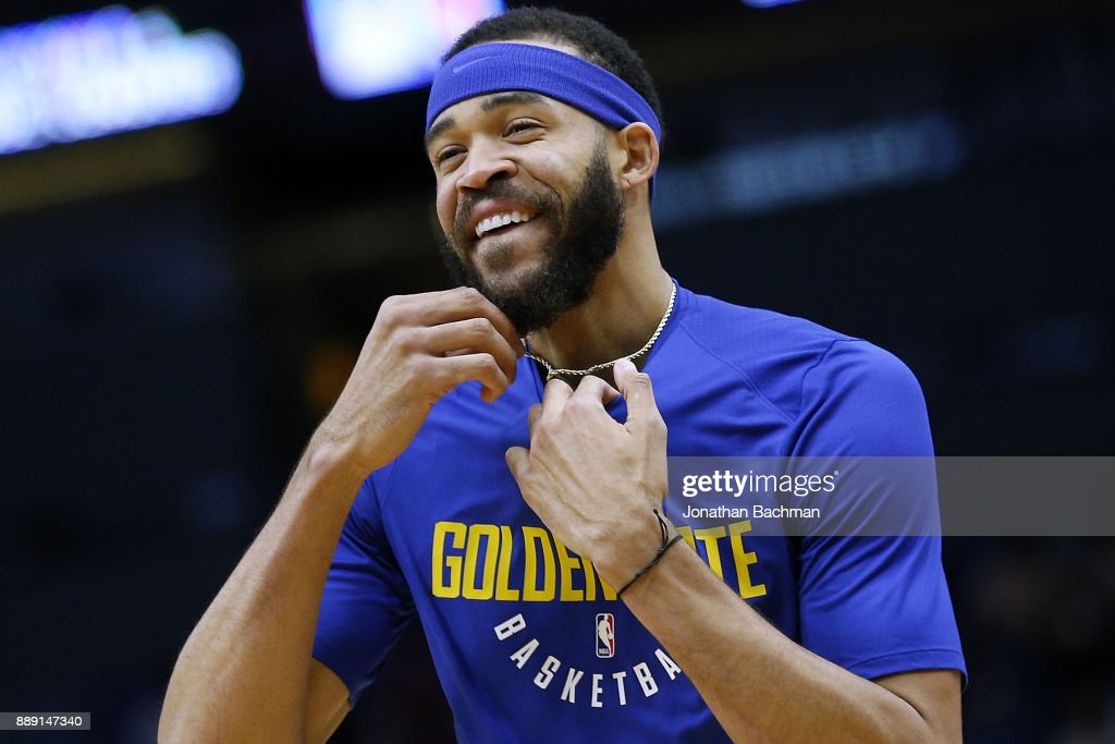 JaVale McGee #1 of the Golden State Warriors warms up before a game against the New Orleans Pelicans at the Smoothie King Center on December 4, 2017 in New Orleans, Louisiana.