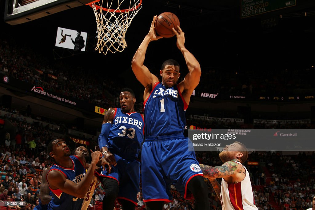 JaVale McGee of the Philadelphia 76ers grabs the rebound against the Miami Heat on February 23 2015 at American Airlines Arena in Miami Florida NOTE...