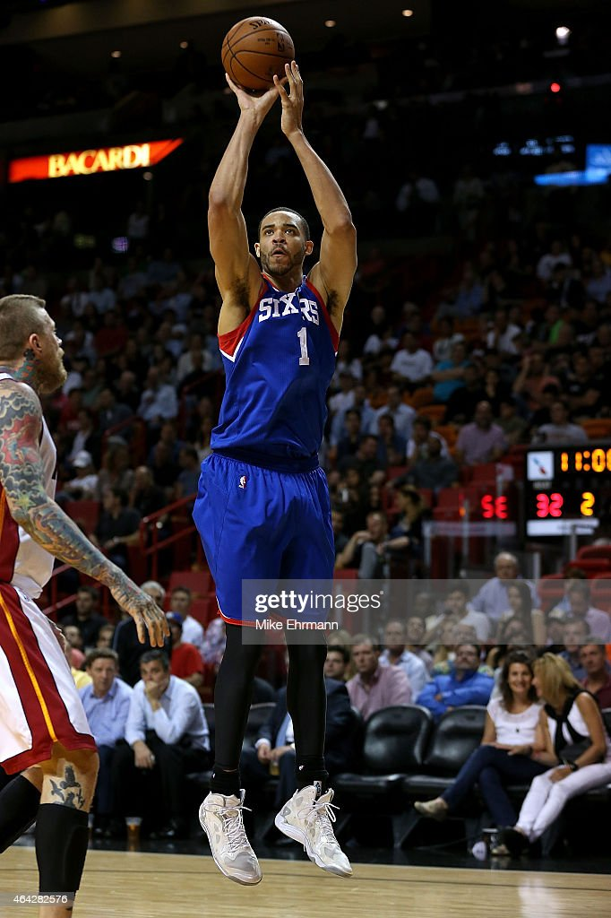 JaVale McGee of the Philadelphia 76ers shoots during a game against the Miami Heat at American Airlines Arena on February 23 2015 in Miami Florida...