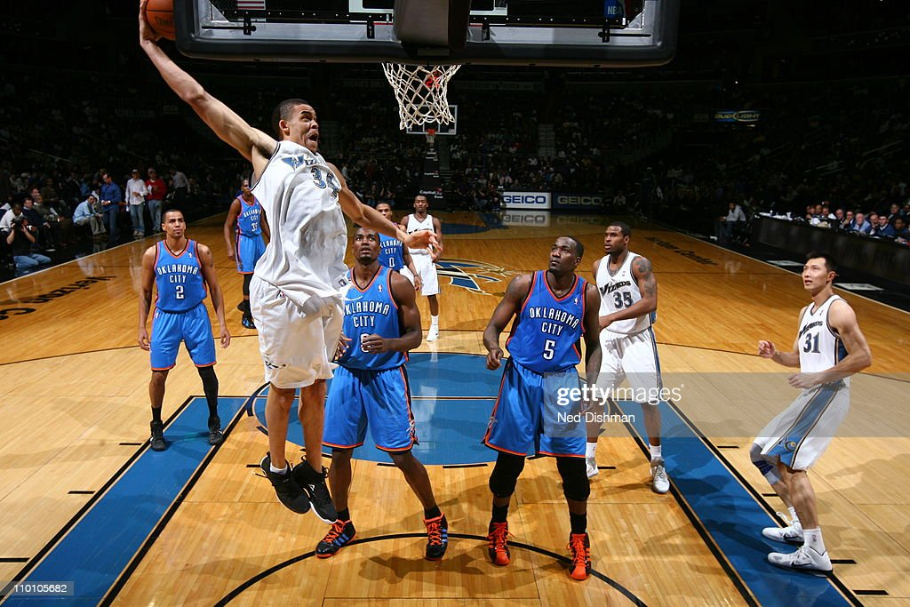 <a gi-track='captionPersonalityLinkClicked' href=/galleries/search?phrase=JaVale+McGee&family=editorial&specificpeople=4195625 ng-click='$event.stopPropagation()'>JaVale McGee</a> #34 of the Washington Wizards dunks against the Oklahoma City Thunder on March 14, 2011 at the Verizon Center in Washington, DC.