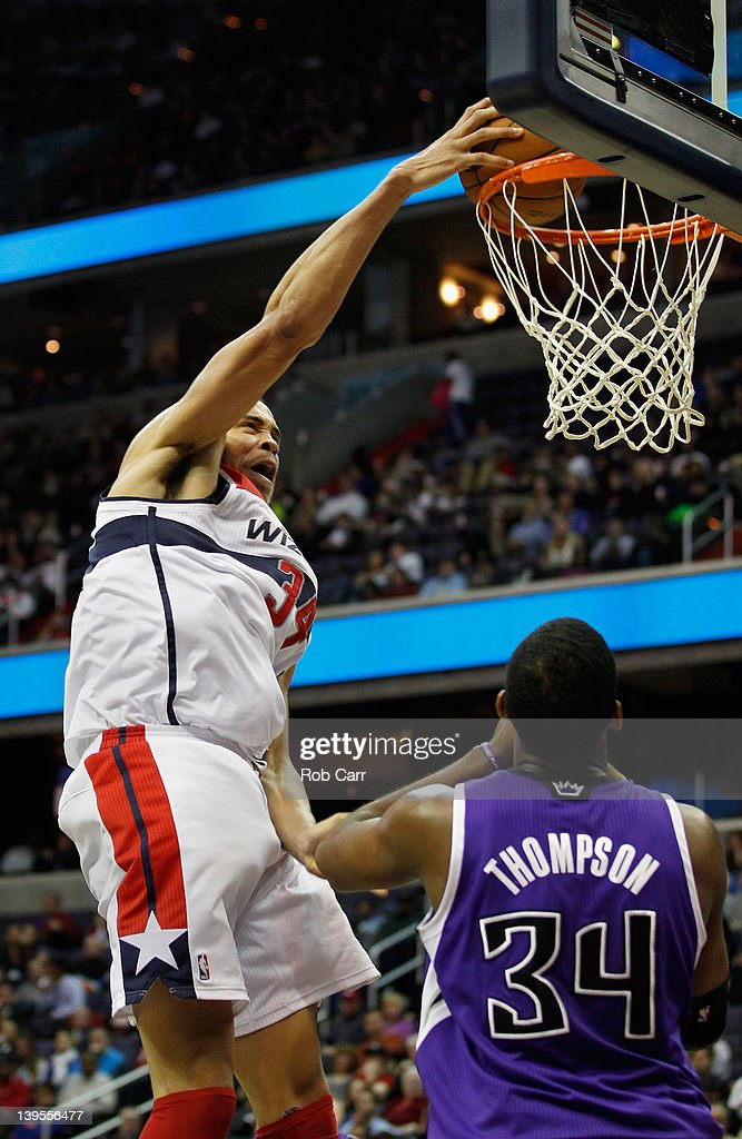 <a gi-track='captionPersonalityLinkClicked' href=/galleries/search?phrase=JaVale+McGee&family=editorial&specificpeople=4195625 ng-click='$event.stopPropagation()'>JaVale McGee</a> #34 of the Washington Wizards dunks over Jason Thompson #34 of the Sacramento Kings during the second half at Verizon Center on February 22, 2012 in Washington, DC.