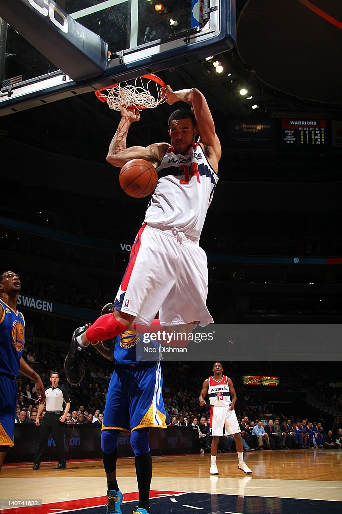 <a gi-track='captionPersonalityLinkClicked' href=/galleries/search?phrase=JaVale+McGee&family=editorial&specificpeople=4195625 ng-click='$event.stopPropagation()'>JaVale McGee</a> #34 of the Washington Wizards dunks the ball during the game between the Washington Wizards and the Golden State Warriors at the Verizon Center on March 5, 2012 in Washington, DC.