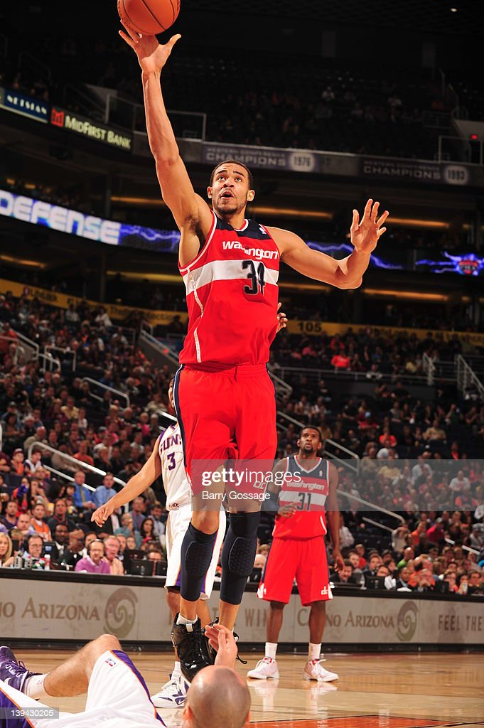 <a gi-track='captionPersonalityLinkClicked' href=/galleries/search?phrase=JaVale+McGee&family=editorial&specificpeople=4195625 ng-click='$event.stopPropagation()'>JaVale McGee</a> #34 of the Washington Wizards puts a shot up against the Phoenix Suns in an NBA game played on February 20, 2012 at U.S. Airways Center in Phoenix, Arizona.