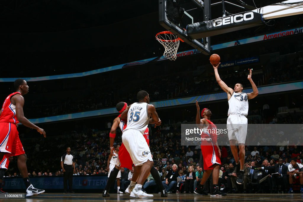 <a gi-track='captionPersonalityLinkClicked' href=/galleries/search?phrase=JaVale+McGee&family=editorial&specificpeople=4195625 ng-click='$event.stopPropagation()'>JaVale McGee</a> #34 of the Washington Wizards shoots against the Los Angeles Clippers at the Verizon Center on March 12, 2011 in Washington, DC.