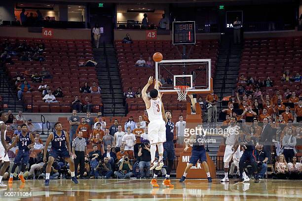 Javan Felix of the Texas Longhorns shoots a three point shot against the TexasSan Antonio Roadrunners at the Frank Erwin Center on December 8 2015 in...