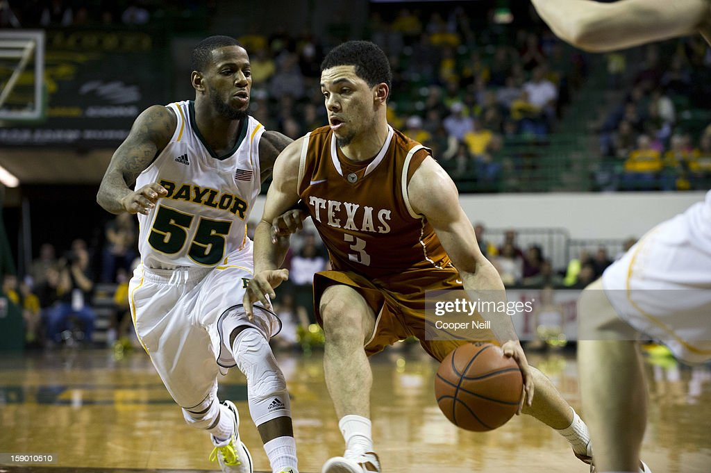 Javan Felix #3 of the University of Texas Longhorns drives to the basket against the Baylor University Bears on January 5, 2013 at the Ferrell Center in Waco, Texas.
