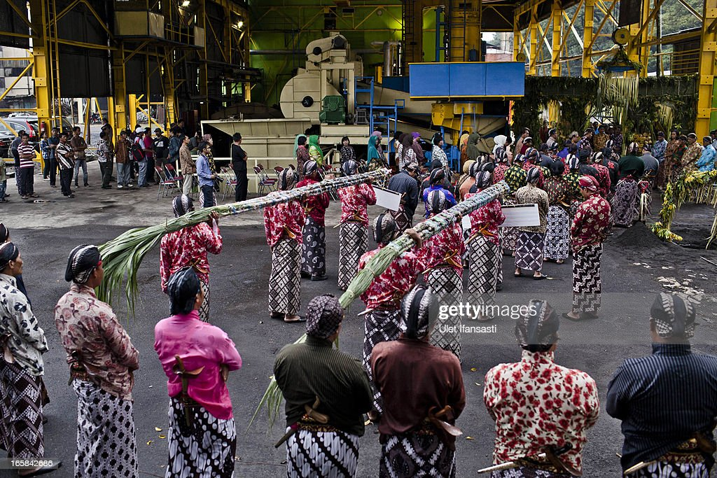 Javanese men carry sugar cane Bride, Nyai Kasih, and groom, Kyai Tumpak, during the Cembengan ritual 'Manten Tebu' at Madukismo sugar cane factory on April 6, 2013 in Yogyakarta, Indonesia. The Cembengan ritual, performed to bring about a good season's sugarcane crop, is held annually before the milling and processing season starts in Indonesian sugar mills.