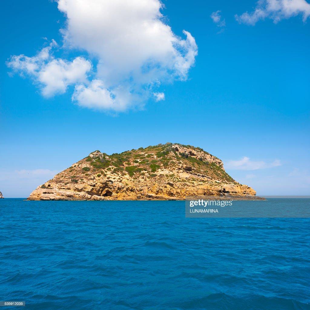 Javea Portixol Ilha Portichol no Mediterrâneo Alicante : Foto de stock