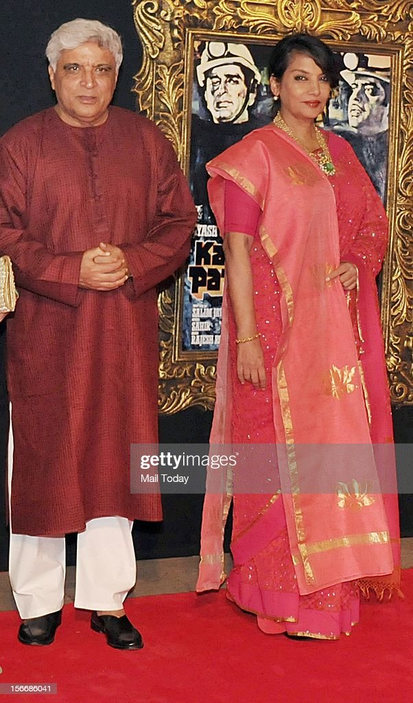 Javed Akhtar and Shabana Azmi at the grand premiere of Yash Chopra film Jab Tak ai Jaan at YRF Studios in Mumbai on Monday.