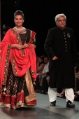 Javed Akhtar and Shabana Azmi walk the runway at the Golecha's Jewels show on day 3 of India International Jewellery Week 2013 at the Hotel Grand...