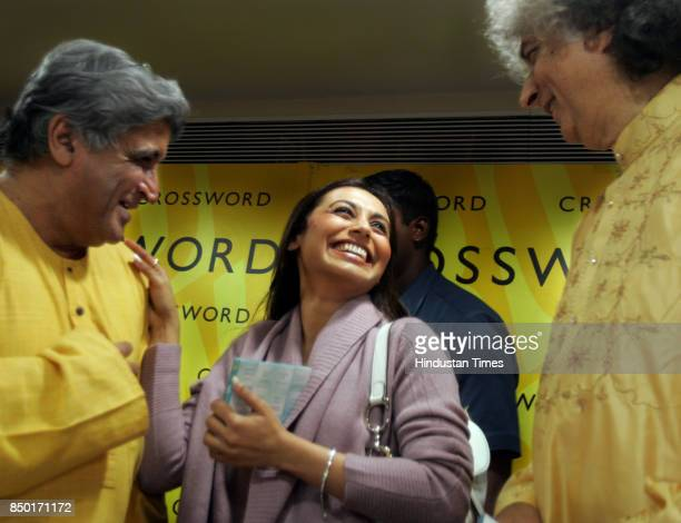 Javed Akhtar Rani Mukherjee and Pt Shiv Kumar Sharma as they release the new album 'EIGHT STAGES OF LOVE' at Crossword Juhu on Wednesday