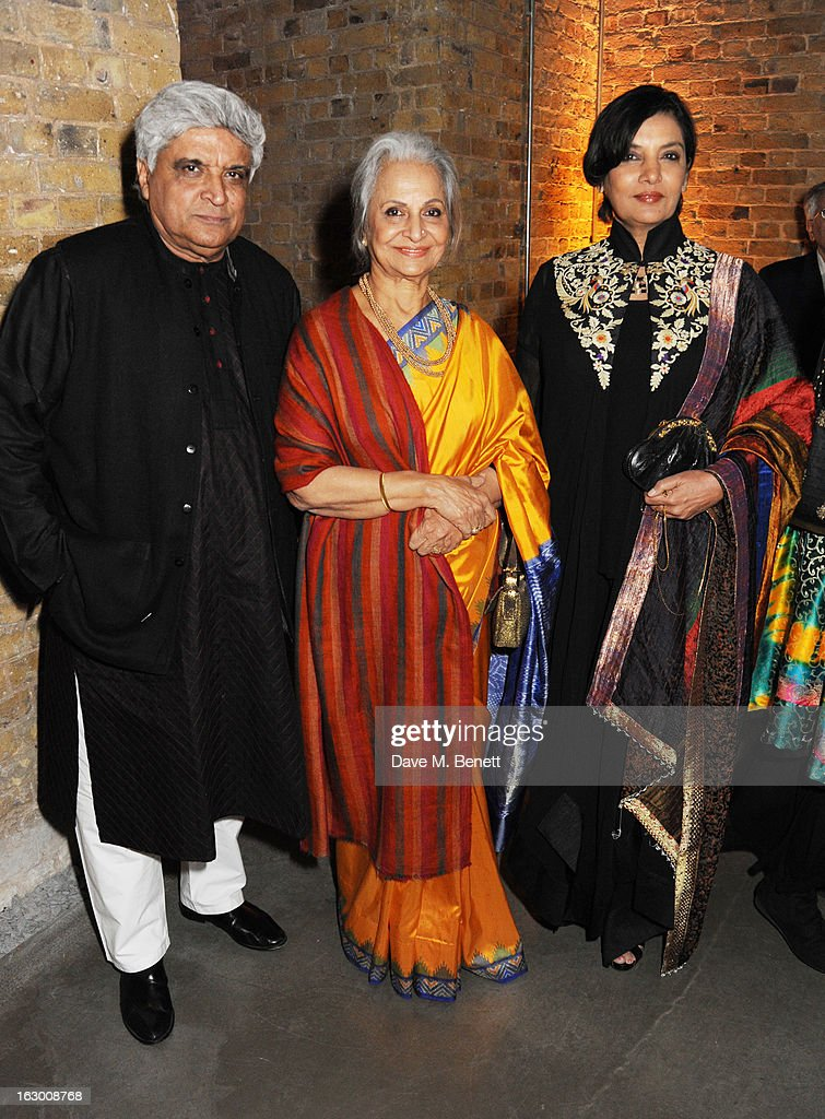 Javed Akhtar, Waheeda Rehman and <a gi-track='captionPersonalityLinkClicked' href=/galleries/search?phrase=Shabana+Azmi&family=editorial&specificpeople=565786 ng-click='$event.stopPropagation()'>Shabana Azmi</a> attend a Fashion Gala fundraiser hosted by the Akshaya Patra Foundation for underpriveleged children in India, at Vinopolis, on March 2, 2013 in London, England.