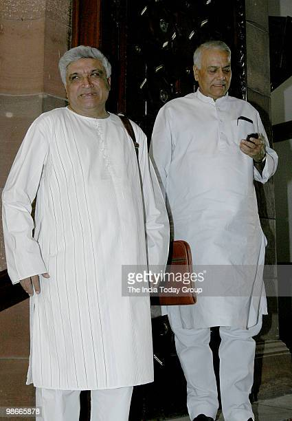 Javed Akhtar with Yashwant Sinha attends Parliament on Friday April 23 2010