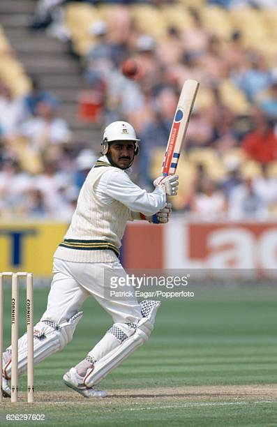 Javed Miandad batting for Pakistan during his innings of 153 in the 1st Test match between England and Pakistan at Edgbaston Birmingham 6th June 1992