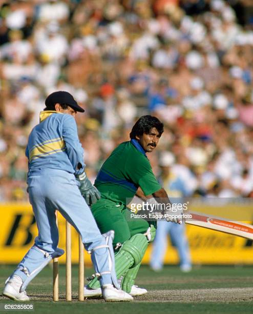 Javed Miandad batting for Pakistan during his innings of 48 runs in the Benson and Hedges World Championship of Cricket Final between India and...