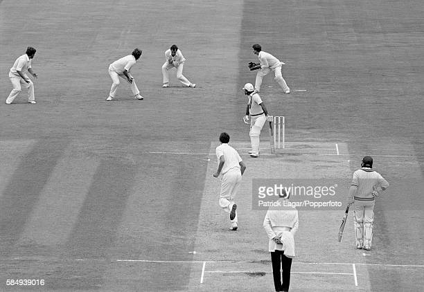 Javed Miandad of Pakistan is caught by John Emburey of England off Neil Foster for 4 in the second innings of the 4th Test match between England and...