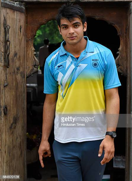 Javelin Thrower Neeraj Chopra after meeting with sports minister Vijay Goel at Goel's residence on July 27 2016 in New Delhi IndiaThe18year old...