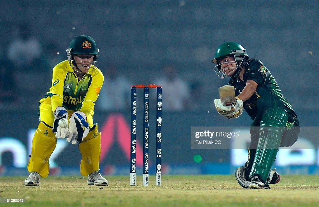 Javeria khan of Pakistan bats during the ICC Women's world twenty20 ...