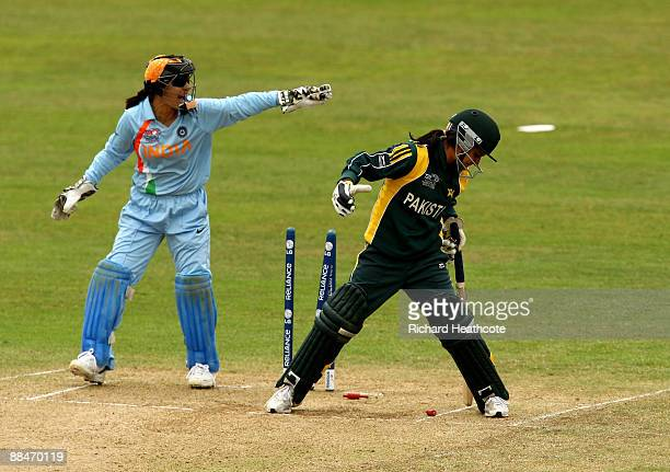 Javeria Wadood of Pakistan is stumped by Sulakshana Naik of India during the ICC Women's Twenty20 World Cup match between India and Pakistan at The...