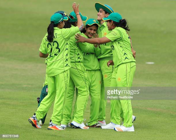 Javeria Wadwood of Pakistan celebrates catchong out Trisha Chetty of South Africa during the ICC Women's World Cup group match between Pakistan and...