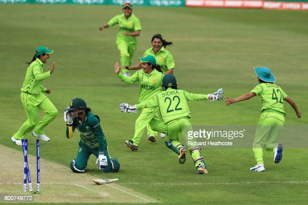 Javeria Wadwood of Pakistan celebrates running out Marizanne Kapp of South Africa during the ICC Women's World Cup group match between Pakistan and...