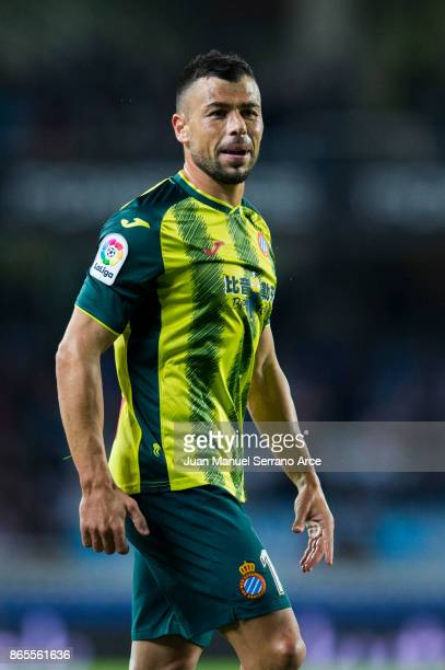 Javi Fuego of RCD Espanyol reacts during the La Liga match between Real Sociedad de Futbol and RCD Espanyol at Estadio Anoeta on October 23 2017 in...