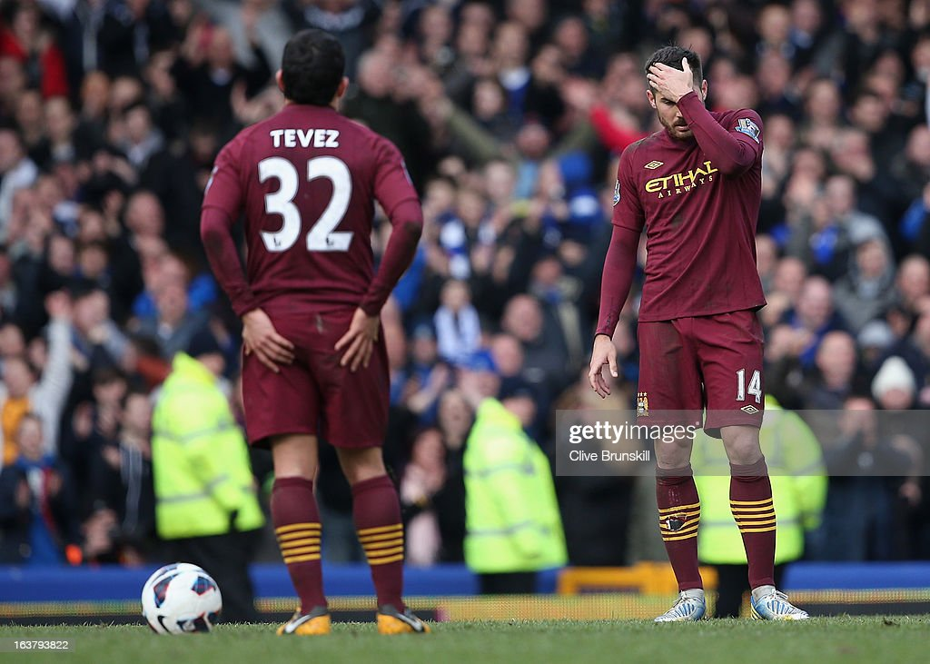 Javi Garcia of Manchester City looks dejected following Everton's second goal during the Barclays Premier League match between Everton and Manchester City at Goodison Park on March 16, 2013 in Liverpool, England.
