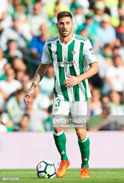 Javi Garcia of Real Betis Balompie in action during the La Liga match between Real Betis and Alaves at Estadio Benito Villamarin on October 21 in...