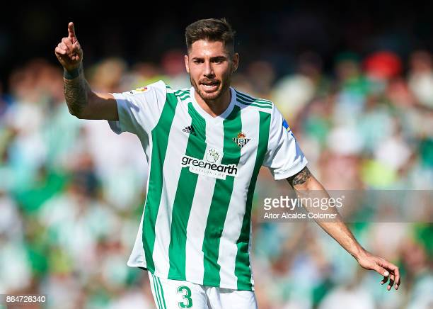 Javi Garcia of Real Betis Balompie looks on during the La Liga match between Real Betis and Alaves at Estadio Benito Villamarin on October 21 2017 in...
