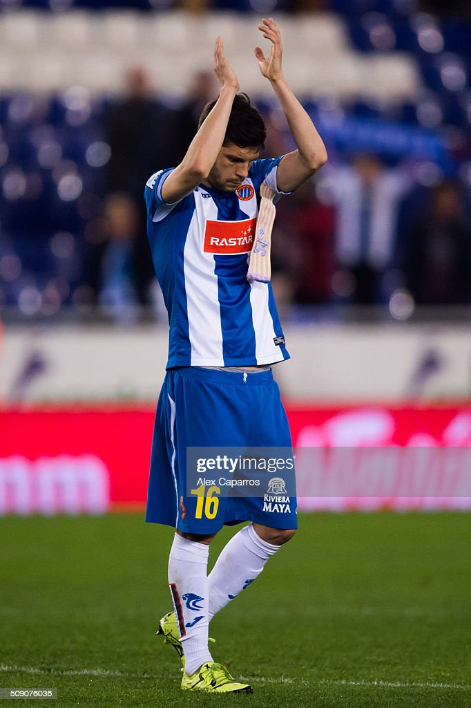 Javi Lopez of RCD Espanyol applauds their supporters after the La Liga match between RCD Espanyol and Real Sociedad de Futbol at Cornella-El Prat Stadium on February 8, 2016 in Barcelona, Spain.