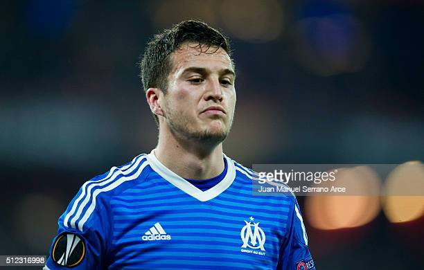Javi Manquillo of Marseille reacts during the UEFA Europa League Round of 32 Second Leg match between Athletic Club and Marseille at San Mames...