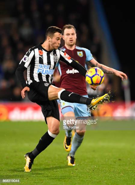 Javi Manquillo of Newcastle United clears his lines during the Premier League match between Burnley and Newcastle United at Turf Moor on October 30...
