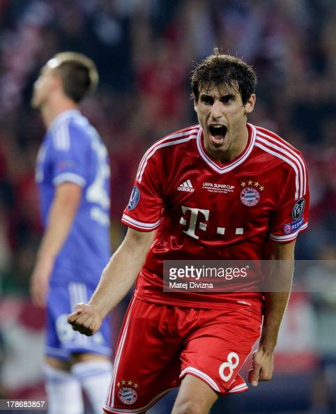 Javi Martinez of Bayern celebrates his goal during the UEFA Super Cup match between FC Bayern Muenchen and Chelsea FC at Stadion Eden on August 30...