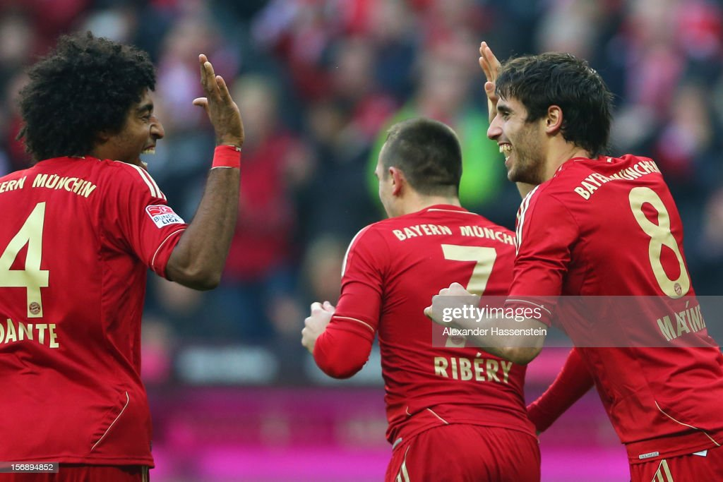 Javi Martinez (C) of Muenchen celebrates scoring the opening goal with his team mates Datne (L) and <a gi-track='captionPersonalityLinkClicked' href=/galleries/search?phrase=Franck+Ribery&family=editorial&specificpeople=490869 ng-click='$event.stopPropagation()'>Franck Ribery</a> (R) during the Bundesliga match between FC Bayern Muenchen and Hannover 96 at Allianz Arena on November 24, 2012 in Munich, Germany.