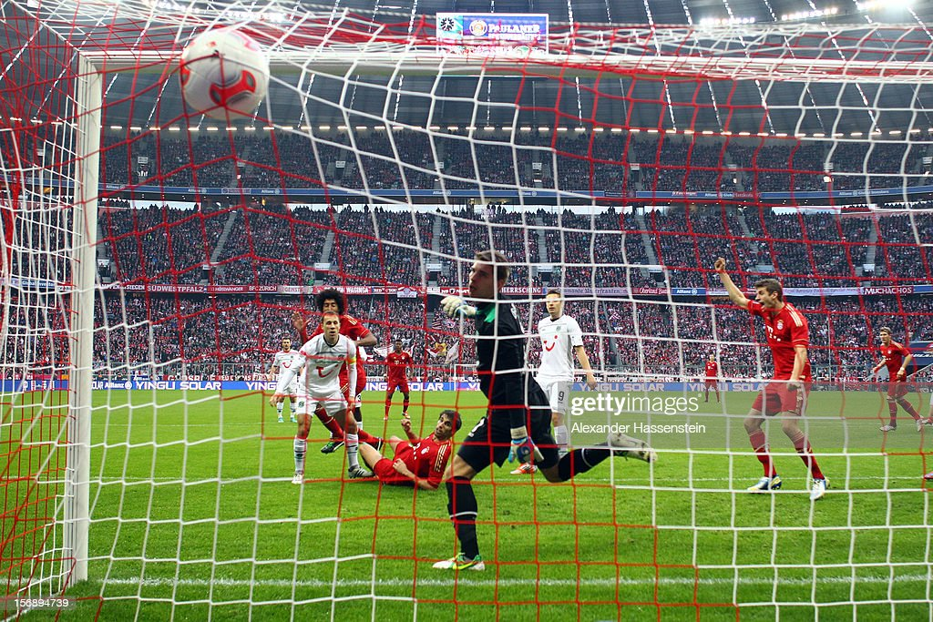 Javi Martinez (C) of Muenchen scores the opening goal during the Bundesliga match between FC Bayern Muenchen and Hannover 96 at Allianz Arena on November 24, 2012 in Munich, Germany.