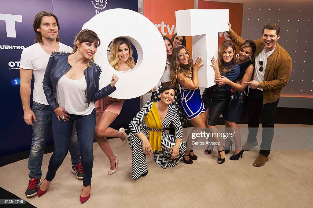 Javian, Gisela, Natalia, Rosa Lopez, Mireia Montavez, Nuria Fergo, Veronica Romeo, Geno Machado, Chenoa and Manu Tenorio attend 'OT 1 El Reencuentro' televison talent show at TVE studios on October 6, 2016 in Madrid, Spain.