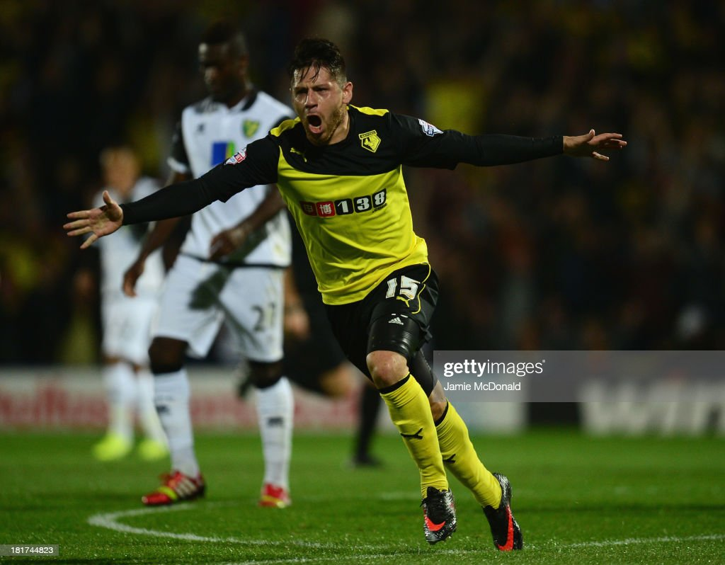 Javier Acuna of Watford celebrates as he scores their first goal during the Capital One Cup Third Round match between Watford and Norwich City at Vicarage Road on September 24, 2013 in Watford, England.