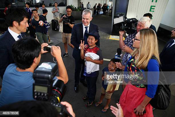 Javier Aguirre head coachof Japan arrives ahead of the 2015 Asian Cup at Sydney International Airport on January 3 2015 in Sydney Australia