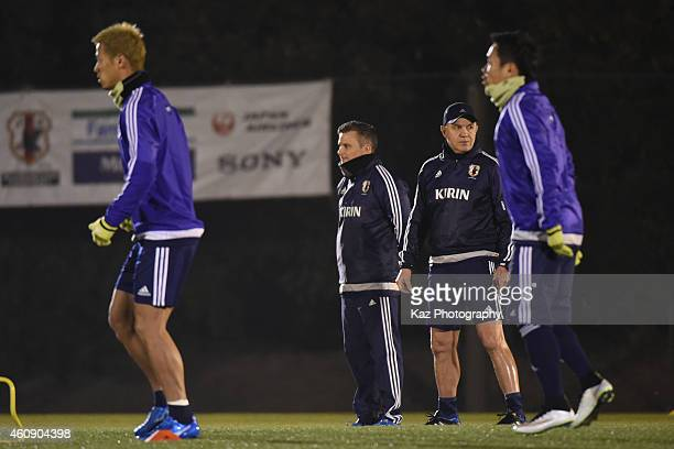Javier Aguirre manager of Japan watches his players during the Japanese national team's training session ahead of The AFC Asian Cup at the Narashino...