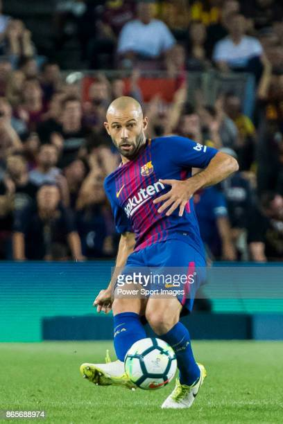 Javier Alejandro Mascherano of FC Barcelona in action during the La Liga 201718 match between FC Barcelona and Malaga CF at Camp Nou on 21 October...
