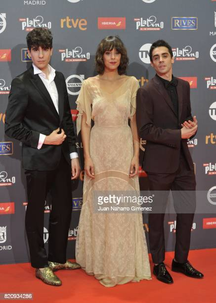Javier Ambrossi Belen Cuesta and Javier Calvo attend the 'Platino Awards 2017' photocall at La Caja Magica on July 22 2017 in Madrid Spain