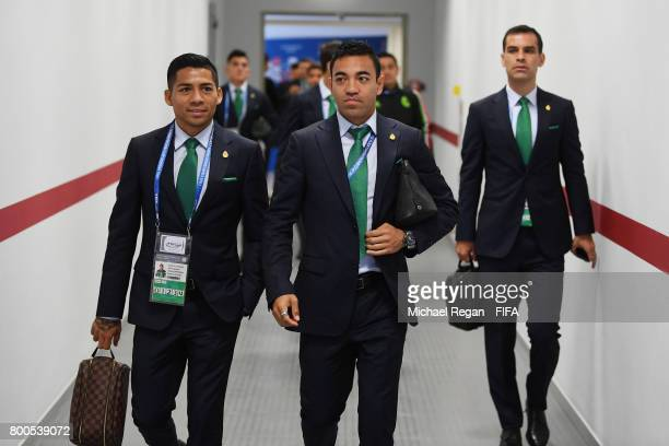 Javier Aquino Marco Fabian and Rafael Marquez of Mexico are seen on arrrival at the stadium prior to the FIFA Confederations Cup Russia 2017 Group A...