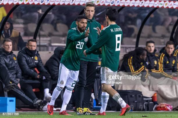 Javier Aquino of Mexico Hirving Lozano of Mexico during the friendly match between Belgium and Mexico on November 10 2017 at the Koning Boudewijn...