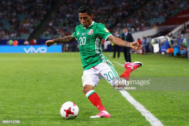Javier Aquino of Mexico in action during the FIFA Confederations Cup Russia 2017 Group A match between Mexico and New Zealand at Fisht Olympic...