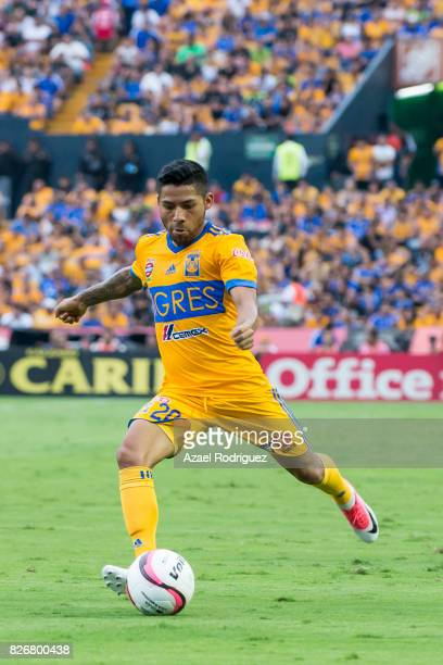 Javier Aquino of Tigres drives the ball during the 3rd round match between Tigres UANL and Puebla as part of the Torneo Apertura 2017 Liga MX at...
