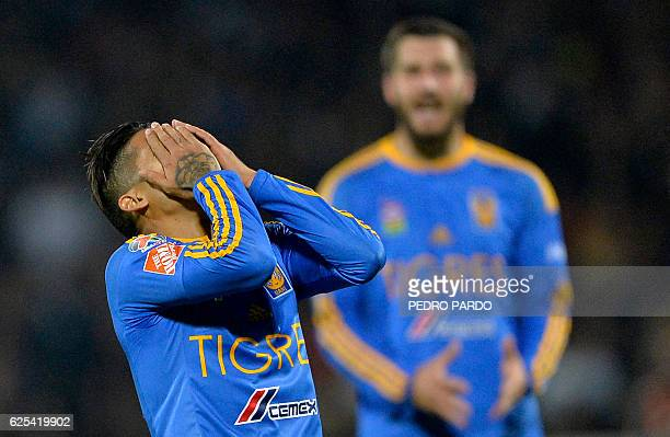 Javier Aquino of Tigres reacts after failing a chance to score against Pumas during their quarter final match of Mexican Apertura 2016 Tournament...
