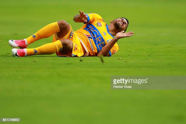 Javier Aquino of Tigres reacts during the 4th round match between Pachuca and Tigres UANL as part of the Torneo Apertura 2017 Liga MX at Hidalgo...