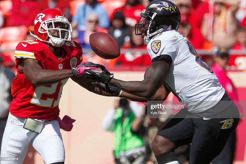 Javier Arenas #21 of the Kansas City Chiefs breaks up a pass to Anquan Boldin #81 of the Baltimore Ravens late in the second quarter on October 07, 2012 at Arrowhead Stadium in Kansas City, Missouri.