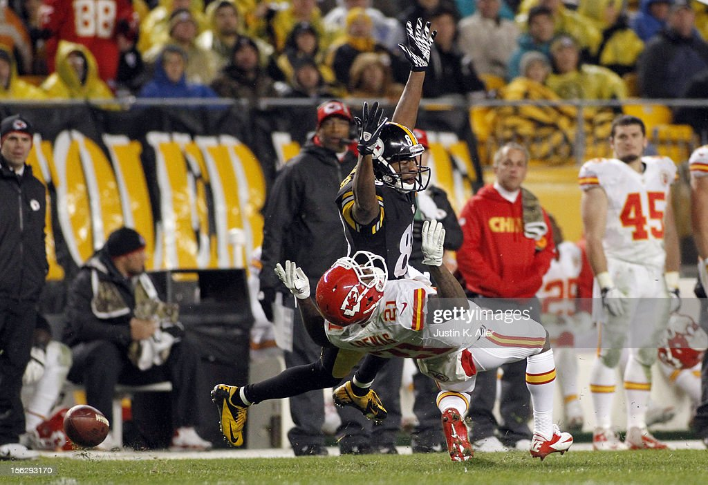 Javier Arenas #21 of the Kansas City Chiefs is called for pass interference against Emmanuel Sanders #88 of the Pittsburgh Steelers during the game on November 12, 2012 at Heinz Field in Pittsburgh, Pennsylvania. The Steelers defeated the Chiefs 16-13.